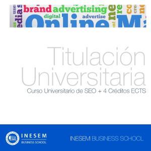 Titulación Universitaria. Curso Universitario de SEO + 4 Créditos ECTS