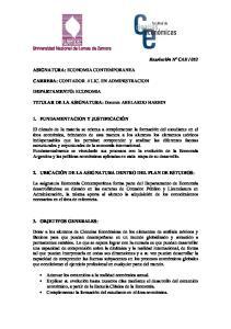 TITULAR DE LA ASIGNATURA: Docente ABELARDO HARBIN