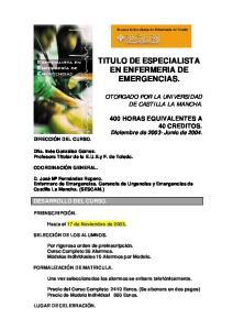 TITULO DE ESPECIALISTA EN ENFERMERIA DE EMERGENCIAS