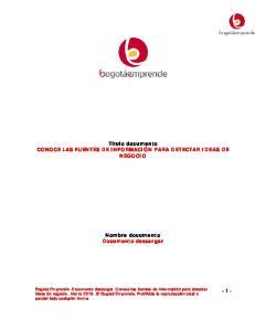 Titulo documento CONOCE LAS FUENTES DE INFORMACIÓN PARA DETECTAR IDEAS DE NEGOCIO