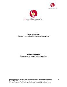 Titulo documento Conoce y estructura los costos de la empresa Nombre documento Documento de preguntas y respuestas
