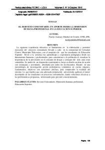 TITULO EL SERVICIO COMUNITARIO: UN APORTE DESDE LA DIMENSION HUMANA-PROFESIONAL EN LA EDUCACION SUPERIOR