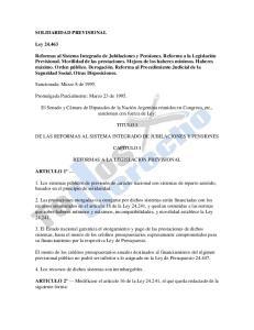 TITULO I DE LAS REFORMAS AL SISTEMA INTEGRADO DE JUBILACIONES Y PENSIONES CAPITULO I REFORMAS A LA LEGISLACION PREVISIONAL