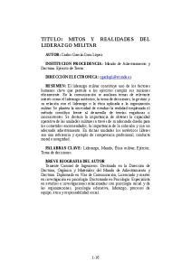 TITULO: MITOS Y REALIDADES DEL LIDERAZGO MILITAR