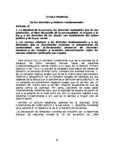 TITULO PRIMERO. De los Derechos y Deberes Fundamentales