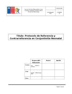 Titulo: Protocolo de Referencia y Contrarreferencia en Conjuntivitis Neonatal