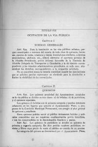 TITULO VI1 OCUPACION DE LA VIA PUBLICA CAP~TULO 1 NORMAS GENERALES