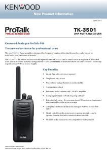 TK-3501 UHF FM TRANSCEIVER