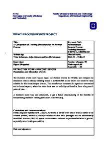 TKP4171 PROCESS DESIGN PROJECT