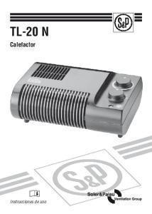 TL-20 N. Calefactor. Instrucciones de uso