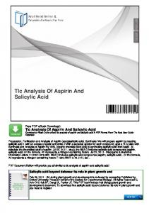 Tlc Analysis Of Aspirin And Salicylic Acid