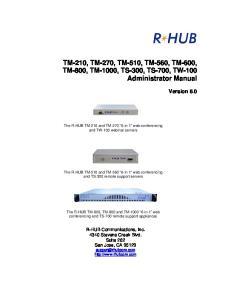 TM-210, TM-270, TM-510, TM-560, TM-600, TM-800, TM-1000, TS-300, TS-700, TW-100 Administrator Manual