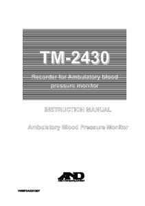 TM Recorder for Ambulatory blood pressure monitor INSTRUCTION MANUAL. Ambulatory Blood Pressure Monitor 1WMPD F