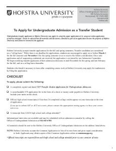 To Apply for Undergraduate Admission as a Transfer Student