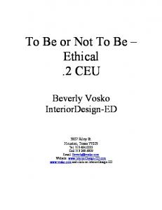 To Be or Not To Be Ethical.2 CEU