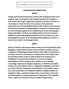 (to be published in Canadian Journal of Applied Linguistics) Lessons learned from Intensive French. Abstract