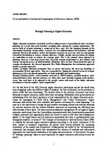 (To be published in International Encyclopedia of Education, Elsevier, 2008) Strategic Planning in Higher Education