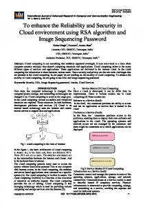 To enhance the Reliability and Security in Cloud environment using RSA algorithm and Image Sequencing Password