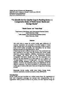 To Identify Service Quality Gaps in Banking Sector: A Comparative Study of Public Sector Banks and Foreign Banks