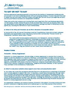 To Say or Not To Say. Product Claims. Protandim - Dietary Supplement