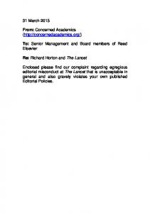To: Senior Management and Board members of Reed Elsevier