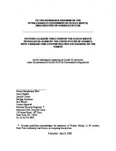 TO THE HONORABLE MEMBERS OF THE INTER-AMERICAN COMMISSION ON HUMAN RIGHTS, ORGANIZATION OF AMERICAN STATES