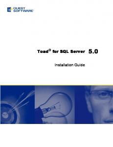 Toad for SQL Server 5.0. Installation Guide