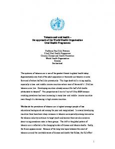 Tobacco and oral health the approach of the World Health Organization Oral Health Programme