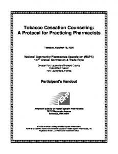 Tobacco Cessation Counseling: A Protocal for Practicing Pharmacists