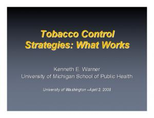 Tobacco Control Strategies: What Works