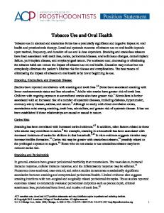 Tobacco Use and Oral Health