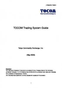 TOCOM Trading System Guide