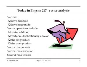 Today in Physics 217: vector analysis