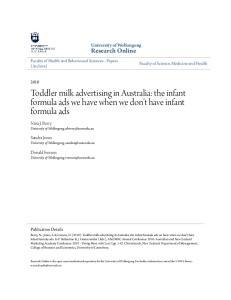 Toddler milk advertising in Australia: the infant formula ads we have when we don t have infant formula ads