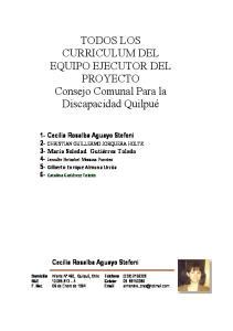 TODOS LOS CURRICULUM DEL EQUIPO EJECUTOR DEL PROYECTO Consejo Comunal Para la Discapacidad Quilpué