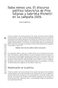 Todos menos uno. El discurso político televisivo de Pino Solanas y Gabriela Michetti en la campaña 2009