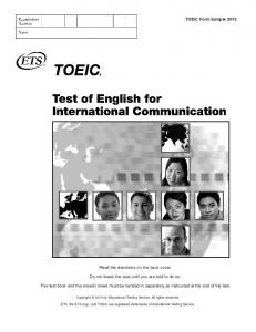 TOEIC Form Sample 2015