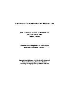 TOKYO CONFERENCES ON SOCIAL WELFARE 1986 PRE-CONFERENCE OSAKA SEMINAR AUGUST 23-26, 1986 OSAKA, JAPAN