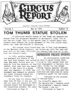 TOM THUMB STATUE STOLEN