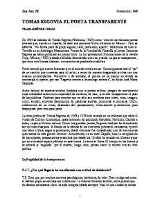 TOMAS SEGOVIA EL POETA TRANSPARENTE