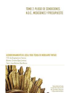 TOMO 2: PLIEGO DE CONDICIONES, N.O.C., MEDICIONES Y PRESUPUESTO