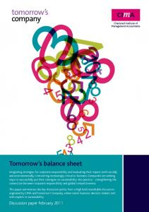 Tomorrow s balance sheet