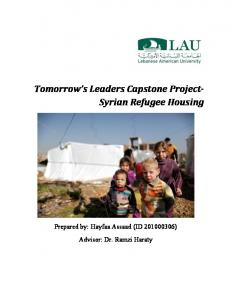 Tomorrow s Leaders Capstone Project- Syrian Refugee Housing