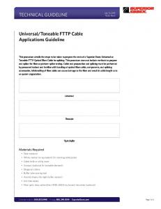 Toneable FTTP Cable Applications Guideline. Materials Required