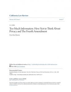 Too Much Information: How Not to Think About Privacy and The Fourth Amendment