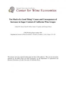 Too Much of a Good Thing? Causes and Consequences of Increases in Sugar Content of California Wine Grapes