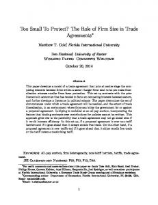Too Small To Protect? The Role of Firm Size in Trade Agreements