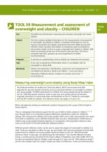 TOOL E4 Measurement and assessment of overweight and obesity CHILDREN
