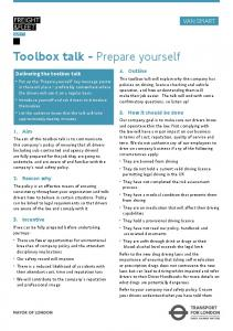 Toolbox talk - Prepare yourself