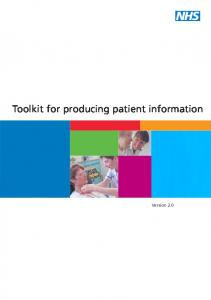 Toolkit for producing patient information